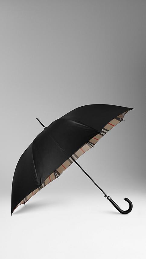 Burberry: Check-lined Walking Umbrella