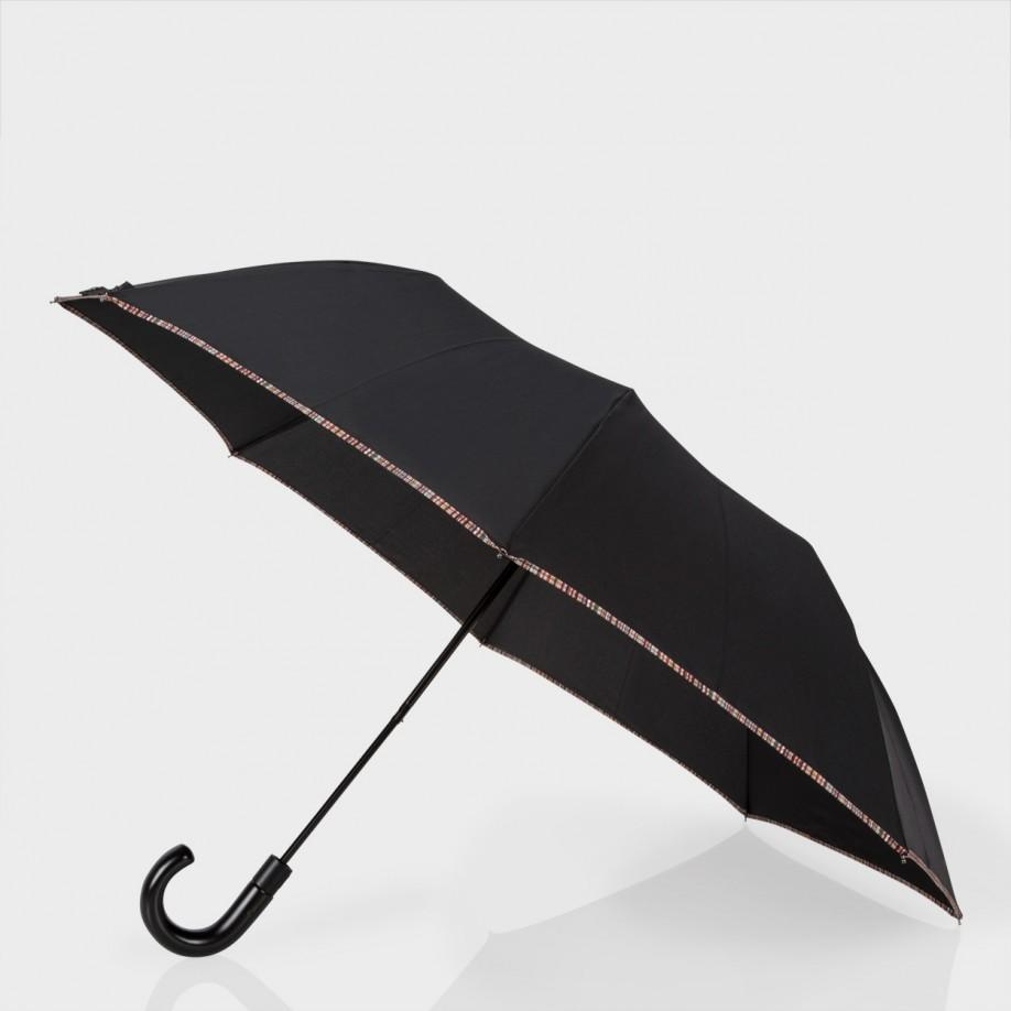 Paul Smith: Black Signature Stripe Trim Crook Umbrella: £65.00