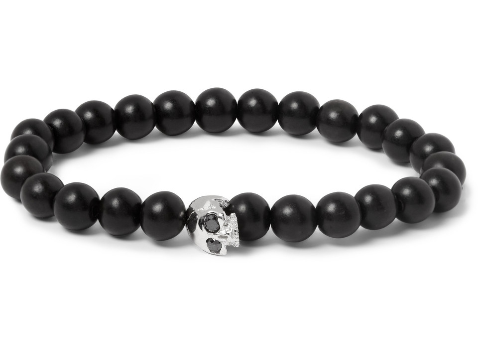 Luis Morais, White Gold & Ebony Beaded Bracelet: