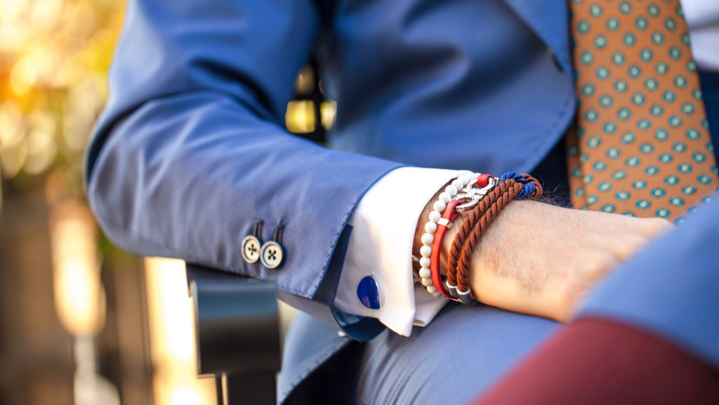 blue suit, bracelet and tie combo