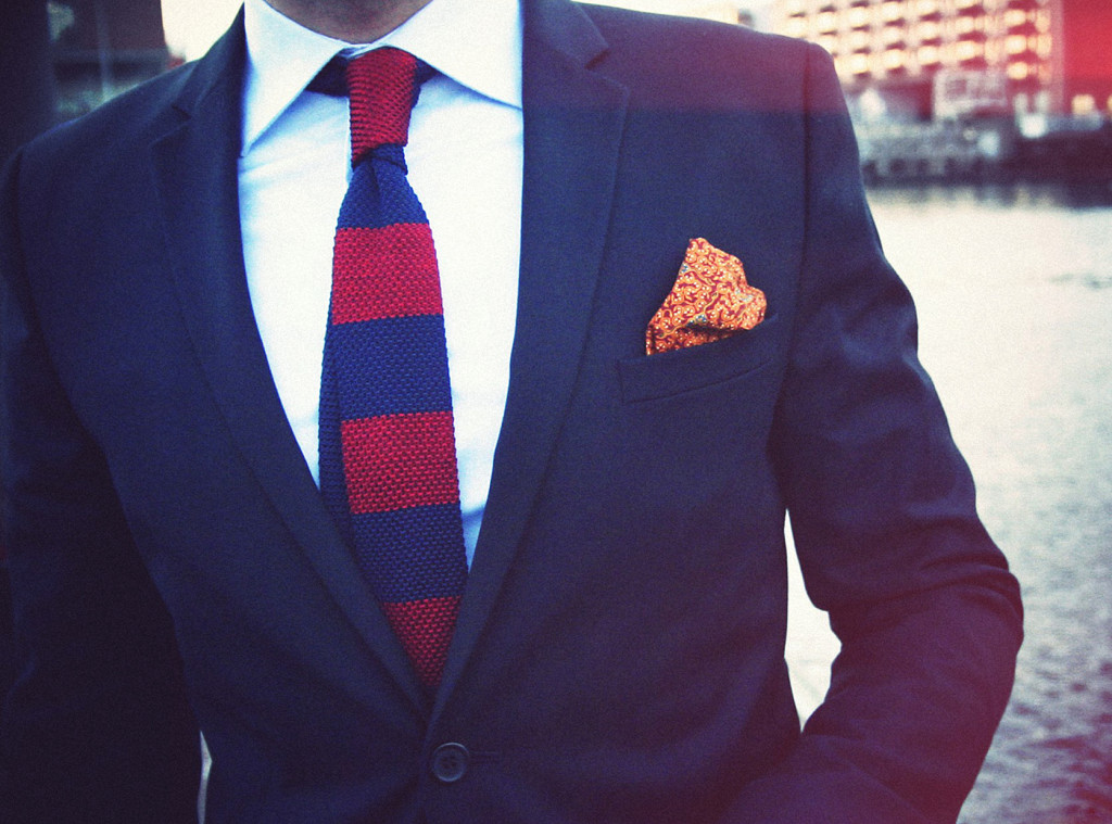 Navy and burgundy knit tie