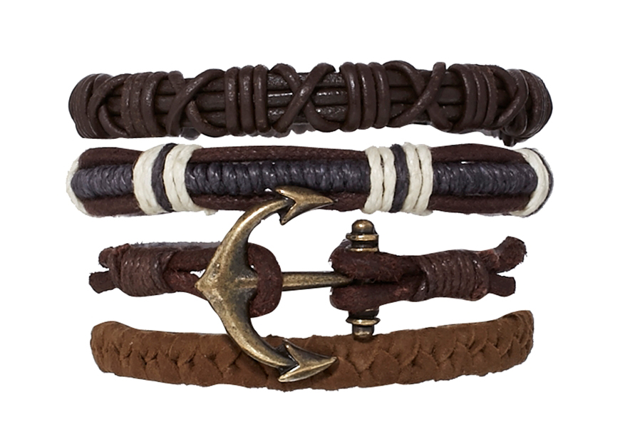 ASOS leather anchor bracelet pack