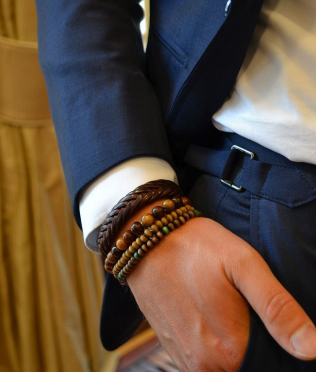 Blue suit, white shirt, ethnic beaded bracelet