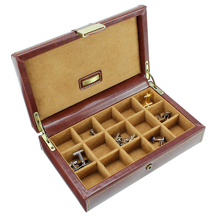 Dulwich Designs. Brown Leather Cufflink Box