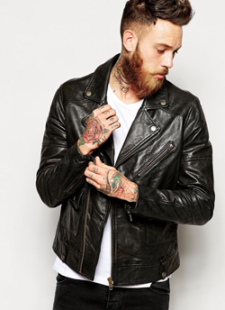 ASOS Brown Biker Leather Jacket