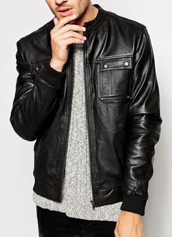 ASOS: River Island Leather Bomber Jacket: £100