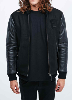 Black leather Urban Outfitters Varsity Jacket